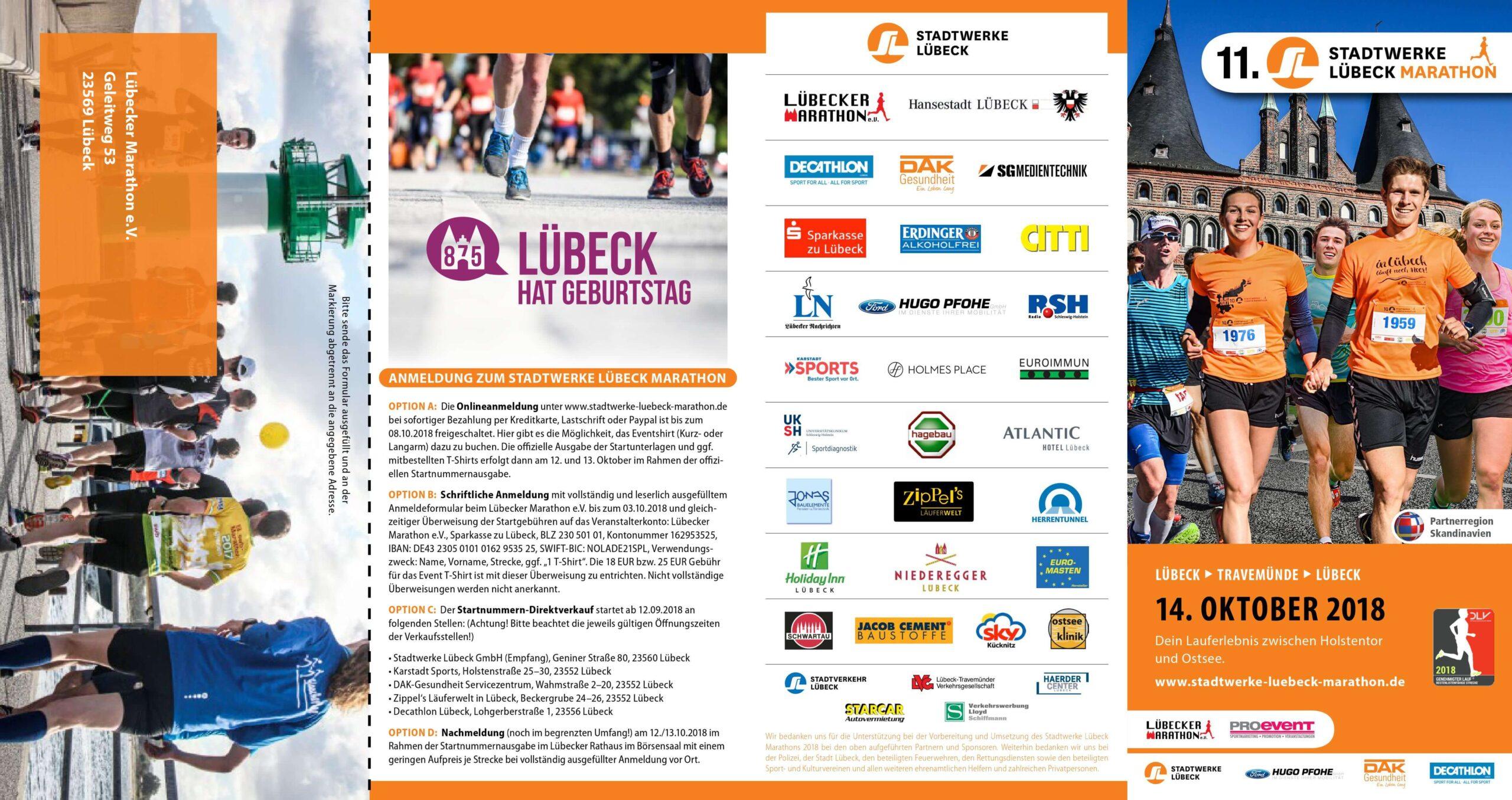 11. Stadtwerke Lübeck Marathon am 14. Oktober 2018